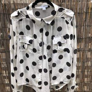 B&W Polka Dot Button-Up
